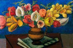 Flowers in a Brown Vase