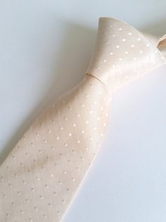 Polka Dot pale blush silk necktie-perfect for weddings with a blush colour theme-Handmade with care by Handsome&Lace