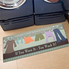 "This Laundry Mat is so cute! You can personalize it with anything you want at the top and bottom! Other possible cute sayings to use: ""Loads of fun!"" ""Check your pockets!"" and ""Drop your drawers here"" #Laundry #Home"