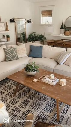 Small Space Living Room, Boho Living Room, Home And Living, Small Spaces, Living Room With Rug, How To Decorate Living Room, Danish Living Room, Beige Sofa Living Room, Modern White Living Room