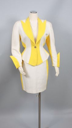 Vintage THIERRY MUGLER Suit Yellow White Cotton.  Celebrate with Renaissance Fine Jewelry at www.vermont jewel.com, Facebook or at our 151 Main Street, Brattleboro, Vermont location. We love to make everyone happy!