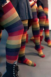 Extraordinary Harvest Rainbows - Harvested from a dream about extraordinary rainbow socks that weren't too bright or girly...    and fit us, from petite girls to big guys, all the way up to our thighs.  These gorgeous muted colors create our favorite new rainbows from their pomegranate red cuffs down to their matching red toes. Made in the U.S.A.