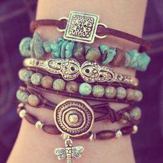 Boho Leather Wrap Bracelet - Turquoise - Stackable - Bohemian Stacking Layering Bracelet