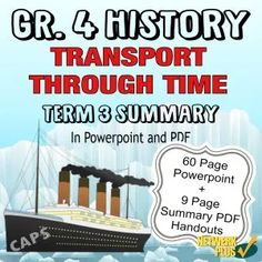 Grade 4 History Term 3 Transport through Time - Powerpoint slides and PDF Summary in English - Teacha! Map Projects, 1st Grade Worksheets, African History, Social Science, Summary, Teaching Resources, Transportation, Presentation, School