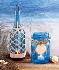 Beach seaside blue glass mason jar bottle candle holder with nautical decor. Beach Theme Centerpieces, Beach Wedding Decorations, Wedding Beach, Trendy Wedding, Wedding Ideas, Diy Wedding, Beach Weddings, Centerpiece Ideas, Wedding Table
