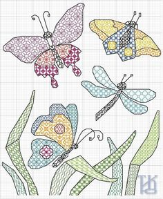 Butterflies and dragonflies blackwork Motifs Blackwork, Blackwork Cross Stitch, Blackwork Embroidery, Cross Stitching, Cross Stitch Embroidery, Embroidery Patterns, Hand Embroidery, Butterfly Quilt, Butterfly Cross Stitch