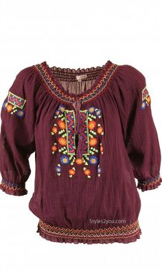 Joy Joy Clothing Annika Peasant Blouse In Burgundy at Styles2you.com