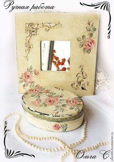 """Комплект """"Шебби-Розы"""" зеркало и шкатулка - бежевый,шебби-шик,розы,роза"""