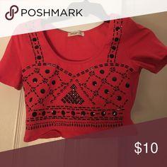 Pink Crop Detailed Top Never Worn pink tight crop shirt with design Arden B Tops Crop Tops