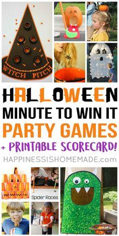 Minute to Win It Halloween Games Halloween Tags, Halloween Class Party, Halloween Activities For Kids, Halloween Designs, Kids Party Games, Halloween Birthday, Holidays Halloween, Halloween Crafts, Vintage Halloween