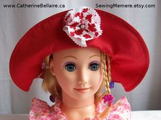 $25.00 summer hat, sun hat, red hat, toddler, infant, child, kids, teen, women Canada Day hat. SewingMemere.etsy.com  http://www.CatherineBellaire.ca Pin now, view latter.