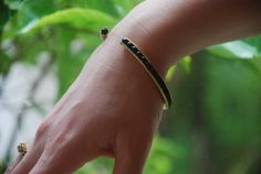 Gold Pipe Bracelet With Black Stones High by SchadelJewelry