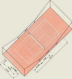 A quadra de tênis deve medir 23,77 x 10,97 m e ter uma margem de segurança ...
