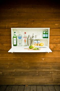 The Wallbanger by Urbancase - a perfect little mini-bar for outdoor entertaining, or even a finished basement - simple yet so functional!