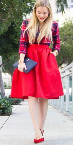 Red Skirt + Tartan