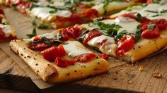 Roasted garlic and butter on the crust really enhance this Margherita pizza.