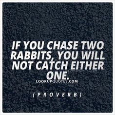 If you chase two rabbits, you will lose them both #quotes