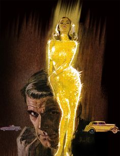 """Goldfinger"" Barye Phillips Vintage Pulp Art Illustration What's not to love? Immediately I hear Shirley Basey belting out the villains name, warning of his deadly obsession. And this vintage pulp art style feels like home to me . Robert Mcginnis, Arte Pulp Fiction, Art Pulp, Book Cover Art, Book Covers, James Bond, American Artists, Kitsch, Digital Illustration"