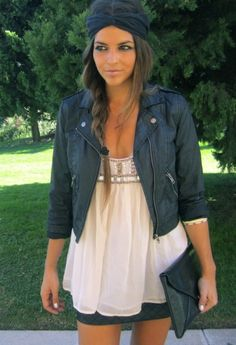 Biker chick: Trendy Black Leather Jacket, touch of girly with the white top