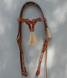 Headstall with Front Tye Brow and Horsehair Tassels. $145.00, via Etsy.