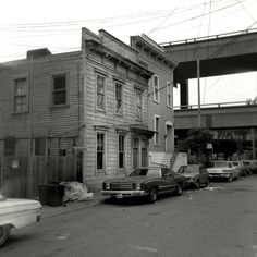 Hickory St. between Octavia and Gough, San Francisco, 1980; note old Central Freeway in background.