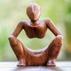 Ahşap heykel, 'Özet Sitting' - Düşünce ve Meditasyon Ahşap Heykel (resim 2) Minyatür resim