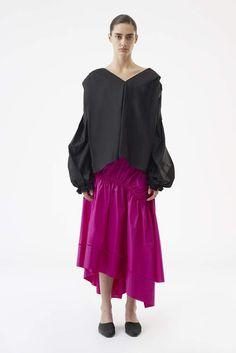 ca4e49d651c Phillip Lim Long Shirred Skirt Silk Model is wearing a US size 2  Professional dry clean only