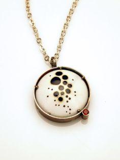 Metal Fusion by Michelle Startzman | Cloisonne Pendant with Garnet | Materials: enamel, sterling silver, copper, garnet  $240.00