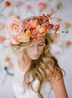 Garden Party {Wedding} peach, orange, and apricot colored bridal flower crown Flower Crown Wedding, Wedding Flowers, Wedding Peach, Bridal Crown, Boho Wedding, Destination Wedding, Dream Wedding, Casco Floral, Wedding Hairstyles With Veil