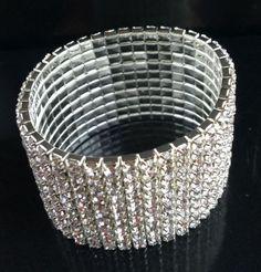 new 10Rows Silver gold Crystal Stretch Bridal Rhinestone Elastic Bracelet Bangle