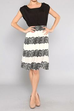 cap sleeve lace stripe dress from SexyModest.com- only $36.99