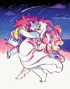 """vythefirst:  I've been catching up on Steven Universe as of late, and I REALLY LOVE the Rose-centric episodes, especially the ones from Greg's point of view (""""Story for Steven"""" and""""We Need To Talk"""" definitely come to mind!). It's just really endearing seeing Greg recount his experiences with Rose. UvUI'll be selling this print at Anime Expo 2015, so find me!!! My booth is C8 (map coming soon ;P)"""