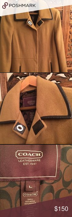 COACH Trench Coat Long winter trench coat wool and leather Coach Jackets & Coats Trench Coats