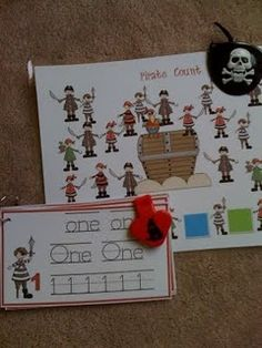 There are 17 pages of numbers, letters, and pirate counting cards here!  Too awesome!