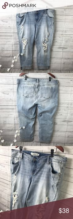 Torrid Distressed Jeans •gently used pre-worn condition  •Used item picture show signs of wear torrid Jeans Boyfriend