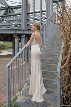 limor rosen bridal 2015 evelyn sleeveless blouson wedding dress sheath skirt thin straps back view train