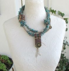 Fiber Wraps Necklace, Long Multiple Wrap  Necklace, Boho necklace, Handmade and original necklace,  Fiber fun jewelry, OOAK, by boele on Etsy