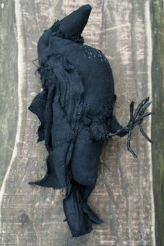 Black Crow soft sculpture by jackrabbitspring Natherlands $128 Crow made from black recycled linnen. The bird is completely made by hand, so uneven stichting is part of the handmade charm.