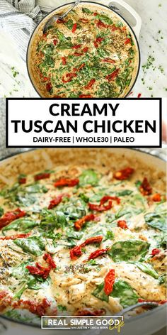 This Paleo + Whole30 creamy tuscan chicken is an easy one pan meal. It's full of creamy, dairy-free goodness that will hit the spot when you're in the mood for comfort food. A quick meal featuring chicken thighs, spinach and sun-dried tomatoes. Paleo Whole 30, Whole 30 Recipes, Real Food Recipes, Chicken Recipes, Healthy Recipes, Cooking Recipes, One Pan Meals, Quick Meals, Creamy Garlic Chicken