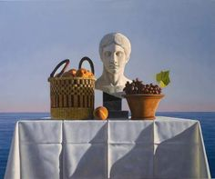 David  Ligare - Still life with peaches, grapes and bust. Oil on canvas