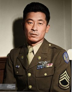 """""""I had to fight like hell for the right to fight for my own country."""" Ben Kuroki, the only Japanese-American of the US Army to see air combat in the Pacific Theater (plus European) during World War II, flying a total of 58 combat missions during the war, After Pearl Harbor, both Kuroki brothers denied enlistment but reapplied. By the end of the war, Kuroki had three Distinguished Flying Crosses. On September 1, 2015 he died in hospice care in Camarillo, California at the age of 98."""