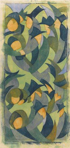 SYBIL ANDREWS, 1898-1992  HYDE PARK  Linoleum cut printed in colours, 1931, signed in pencil, inscribed 'No. 4' from the planned edition of 60, on buff oriental laid tissue