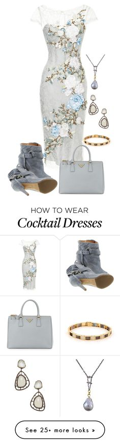 """Untitled #2660"" by rkdk1101 on Polyvore featuring Marchesa, Maison Margiela, Prada, Rosanne Pugliese, Azaara and Van Cleef & Arpels"