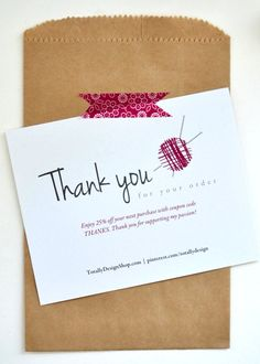 Love this Printable Thank You Card to send with purchase from Etsy Store. INSTANT DOWNLOAD by totallydesign, $10.00
