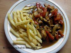 Recept Kuřecí směs s paprikou - Naše Dobroty na každý den Spaghetti, Meat, Chicken, Ethnic Recipes, Food, Red Peppers, Essen, Meals, Yemek