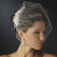 Chic Birdcage Bridal Veil with Lace and Rhinestone Clip - Affordable Elegance Bridal -