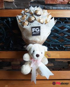 Chocolate Bouquet with A Bear Send Gifts to Davao, Philippines Pricelist: www. Chocolate Tree, Chocolate Gifts, Christmas Gift Sets, Homemade Christmas Gifts, Gold Christmas, Davao, Gift Bouquet, Candy Bouquet, Valentines Baking
