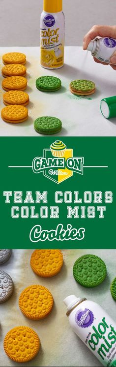 How to Make Team Colors Cookies - This quick and easy decorating idea lets you create a customized sweet treats in YOUR team's colors in just minutes! Any team, any colors, Color Mist has you covered. Bring these cookies to your next tailgate or football party—they are sure to be a big hit with any crowd!