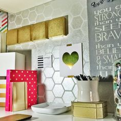 Modern and Geometric Office desk makeover using Royal Design Studio honeycomb allover wall stencils and metallic silver paint - via justmylittlemess