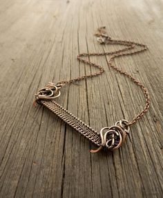 Simple copper necklace  Weaving  Wire statement by UrsulaJewelry